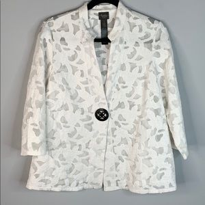 Travelers by Chico's white sheer jacket appliqué S